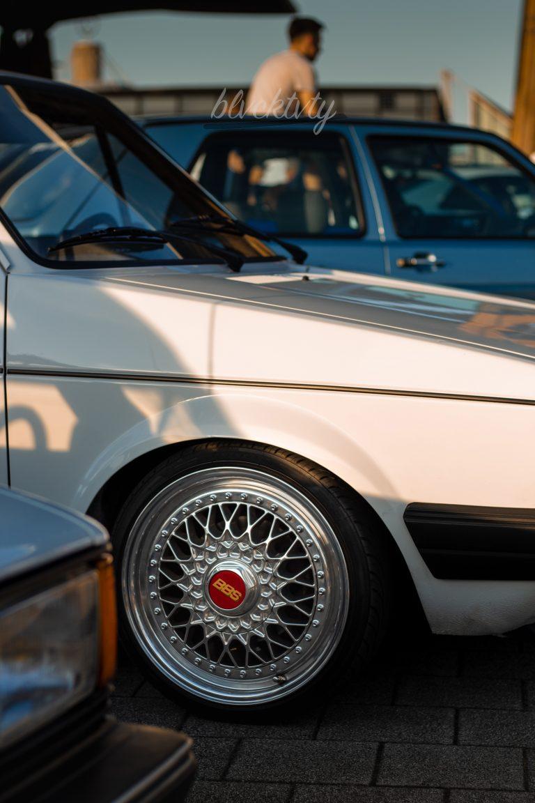 weißer VW Golf 1 GTI mit BBS-Felgen Automotive Fotograf Hannover